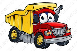 Dump Truck Cartoon Character