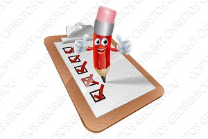 Cartoon Pencil Man and Survey Clipboard
