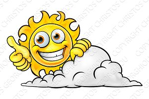 Sun Cartoon Mascot and Cloud