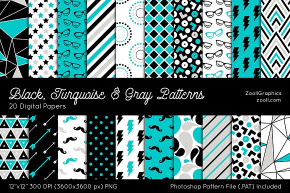 Black Turquoise Gray Digital Papers