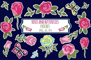 Roses and Butterflies Stickers