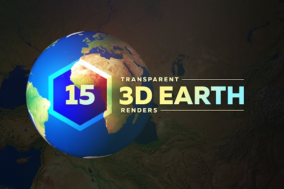 3D Earth Render Without Clouds - Objects