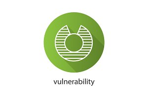 Vulnerability flat linear long shadow icon