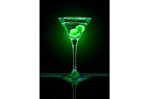 Green coctail with olives