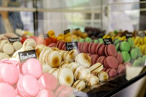 Fresh baked macarons assortment.