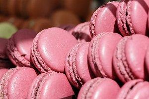 Fresh baked pink macarons.