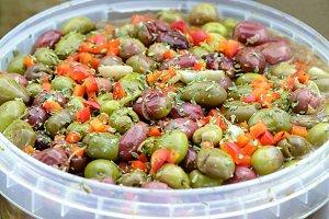 Seasoned olives background