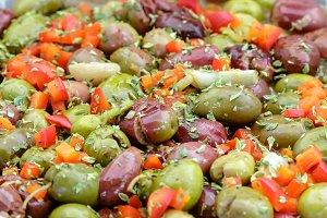 Seasoned olives background.