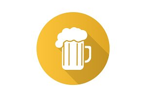Beer glass flat design long shadow icon