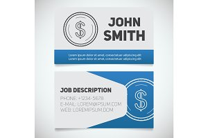 Business card print template with US dollar coin logo
