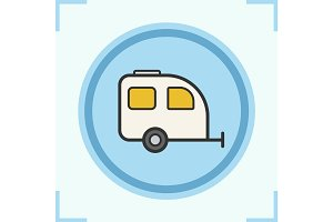 Camping trailer color icon