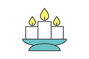 Church candles color icon