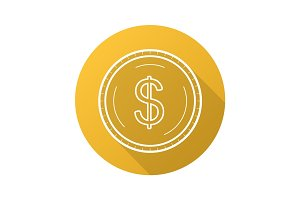 Gold dollar coin flat linear long shadow icon