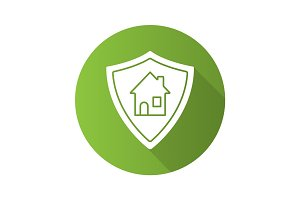 Real estate security. Flat design long shadow icon