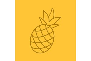 Pineapple color linear icon