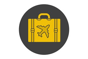Luggage suitcase glyph color icon