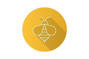 Honey bee flat linear long shadow icon