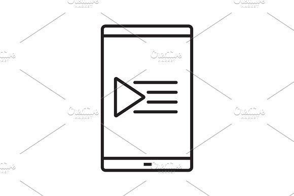 Smartphone Playlist Linear Icon