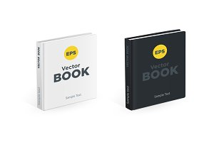 Realistic black and white square books on the white background. Realistic photo book mockups.