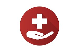 Medical care flat design long shadow icon