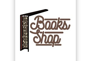 Color vintage books shop emblem