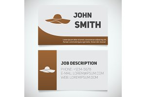 Business card print template with beach hat logo