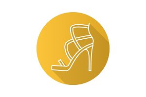 High heel shoe flat linear long shadow icon