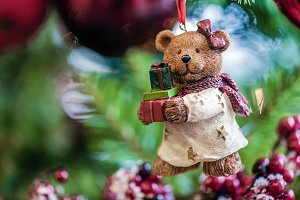 Bear on the Christmas tree