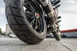 Rear wheel of Red motorcycle