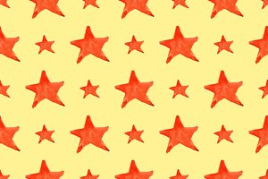 Watercolor red star seamless pattern