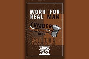 Color vintage lumberjack banner