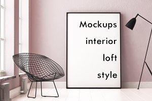 4 mockups interior loft style