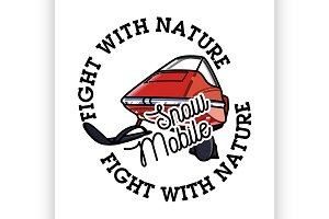 Color vintage snowmobile emblem