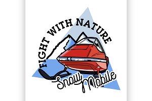 Color vintage snowmobile emblem