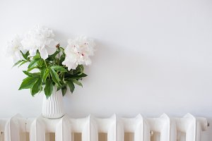 home decoration, fresh peonies in white cozy room interior with