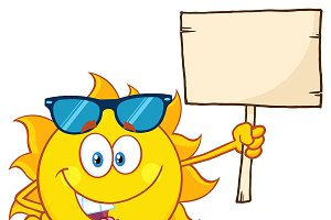 Summer Sun Holding A Blank Sign