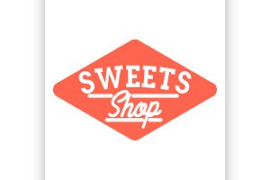 Color vintage sweets shop emblem