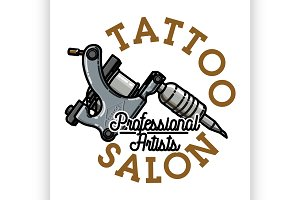 Color vintage tattoo salon emblem