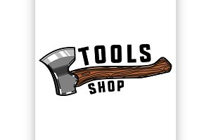 Color vintage tools shop emblem