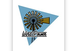 Color vintage wind power emblem