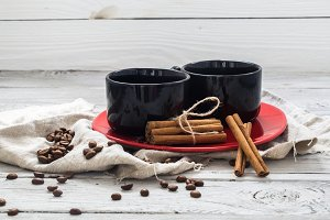 black Cup, wooden background, beverage, Christmas morning, coffee beans, cinnamon sticks