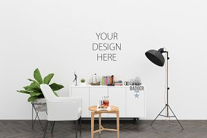 White wall mockup - interior mock up