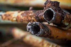 rusty pipes closeup