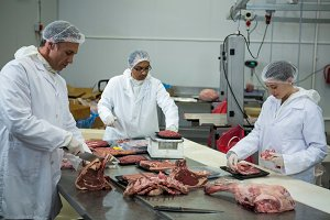 Butchers cutting meat at meat factory