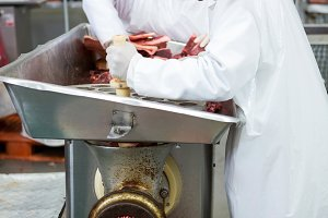 Butchers placing meat in mincing machine