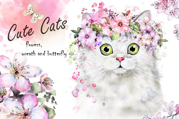 Cute cats flowers illustrations creative market cute cats flowers illustrations mightylinksfo