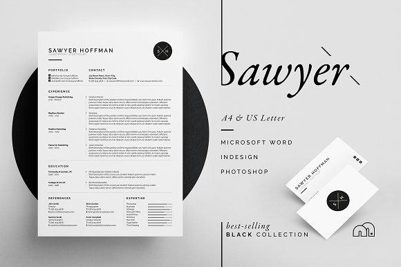 Resumecv Sawyer Resume Templates Creative Market