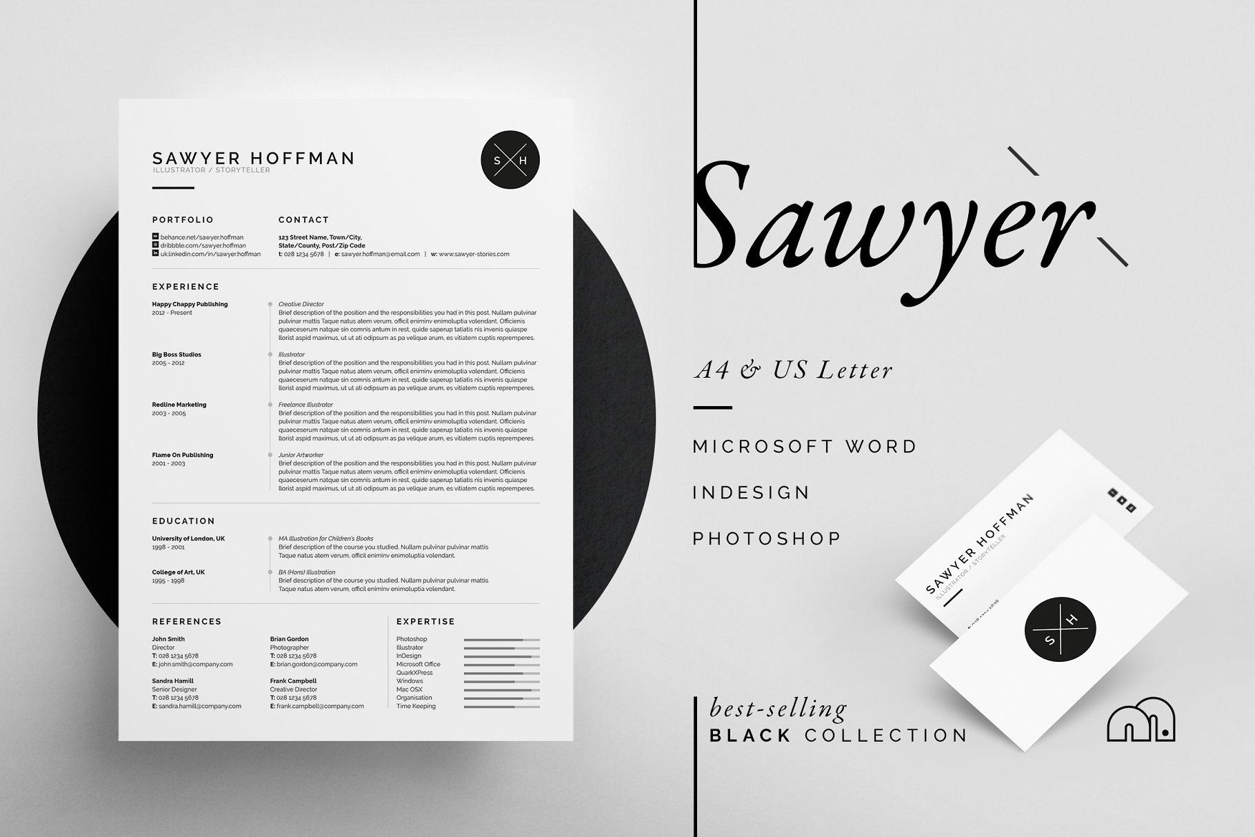 Sawyer - Resume/CV - Resume Templates | Creative Market Pro