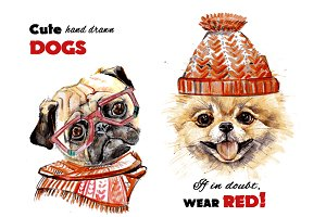 Cute hand drawn dogs. Spitz. Pug