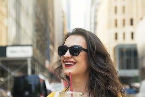 Beautiful woman drinking a coffee.